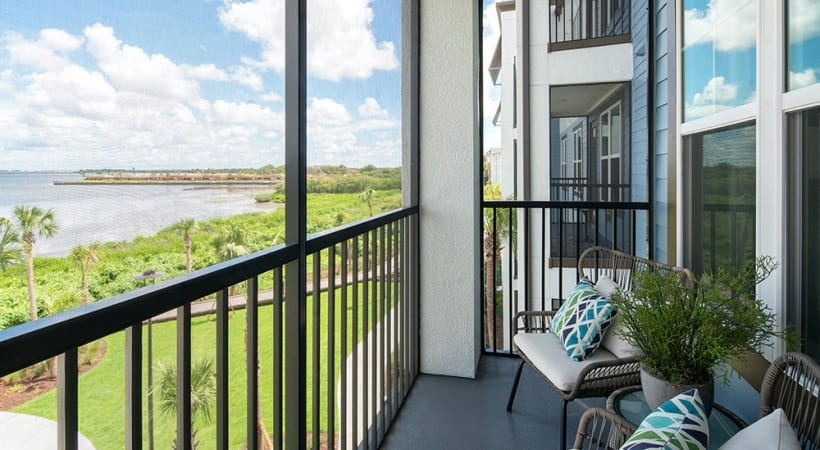 Our Clearwater apartment balcony and patio overlooking Tampa Bay