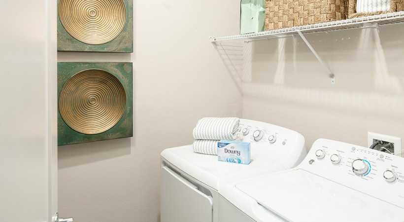 Laundry Room with shelves