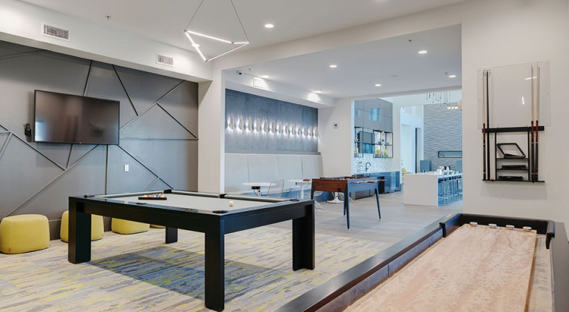 Game room at our Fairview apartment clubhouse