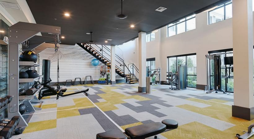 Our two-story Allen apartment gym