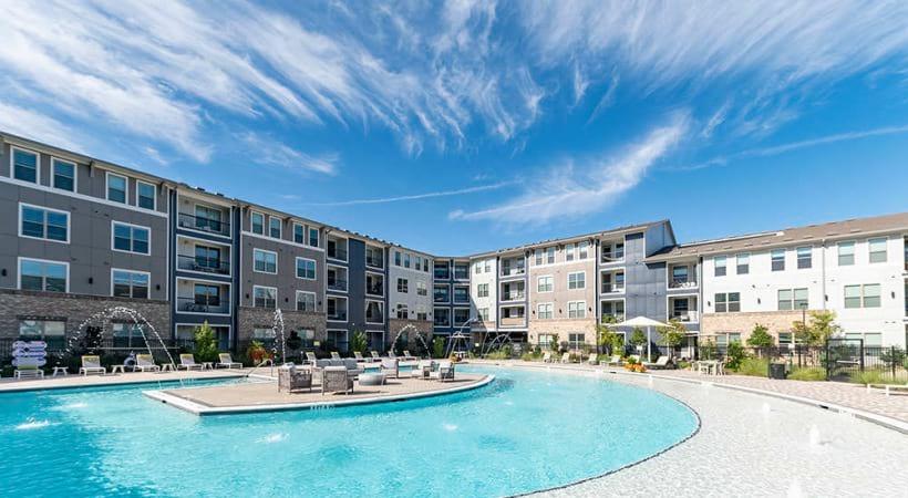Our Allen apartment pool with sun decks
