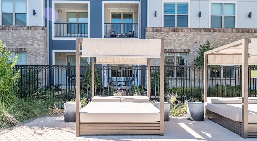 Cabanas at our Allen apartment pool area