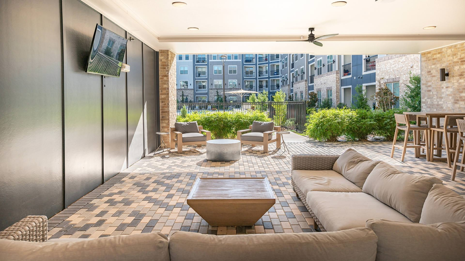 Outdoor lounge at our modern apartments in Allen, TX