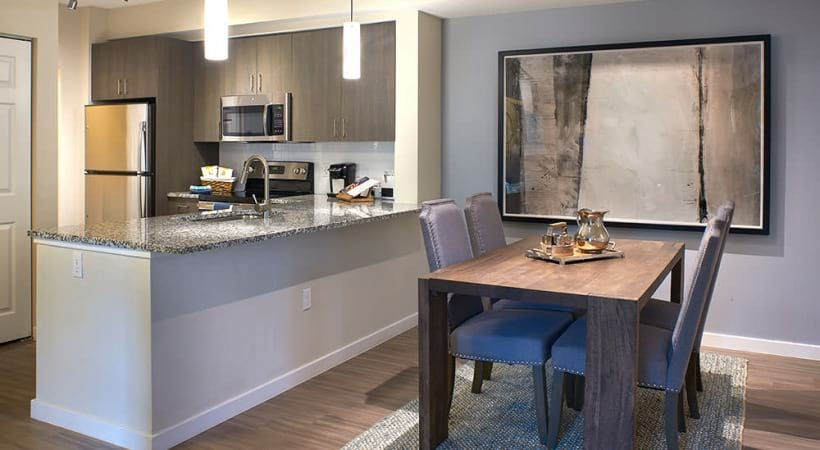 bright dining area adjacent to kitchen