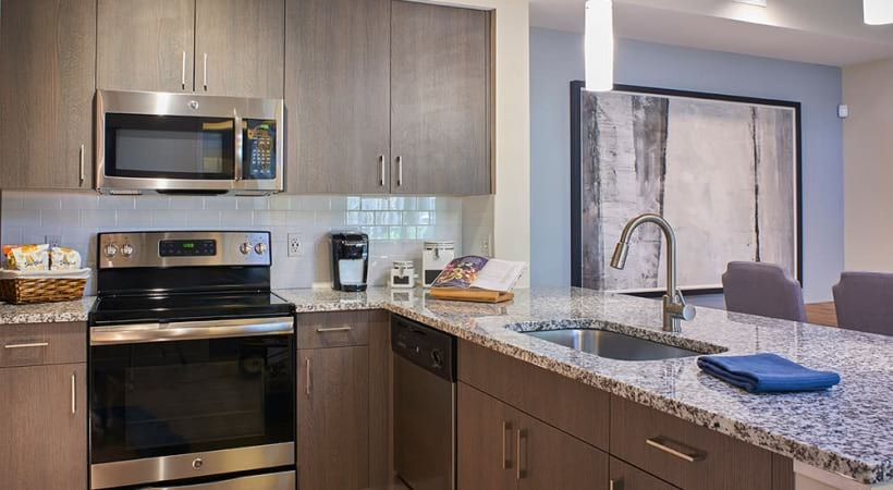 Spacious apartment kitchen at our Hollywood Beach apartments