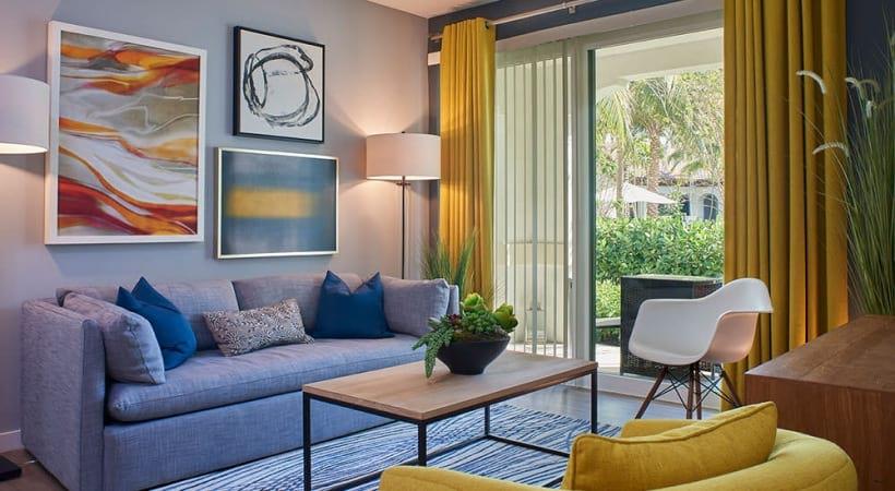 Spacious apartment living room at Cortland Hollywood in Broward County