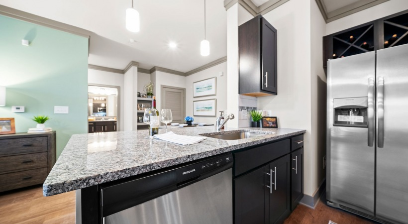 Kitchen with granite countertops at our luxury apartments in McDonough, GA