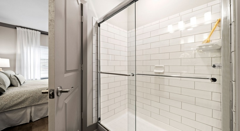 Walk-In shower at Canyon Springs luxury apartments for rent in McDonough