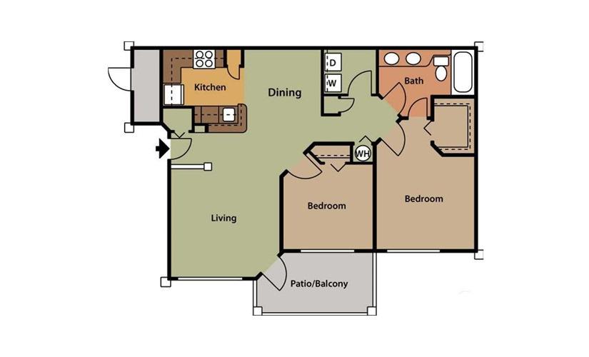 Magnolia 2 bedroom 1 bath 896 square feet
