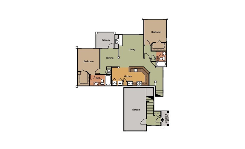 Oak 2 bedroom 2 bath 1188 square feet