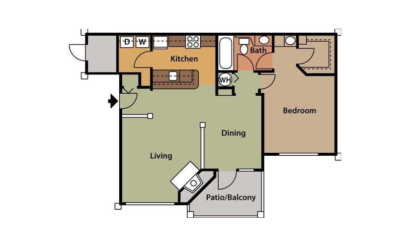 Azalea 1 bedroom 1 bath 806 square feet