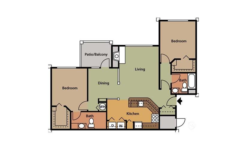 Nadina 2 bedroom 2 bath 1099 square feet