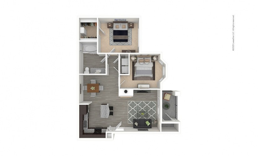 A6 Northpointe 1 bedroom 1 bath 887 square feet