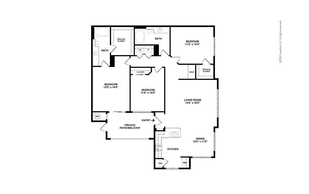 C1 - Tomball 3 bedroom 2 bath 1360 square feet (2)