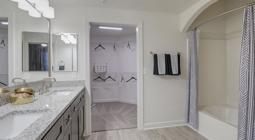 Picture of bathroom flowing into a spacious walk-in closet