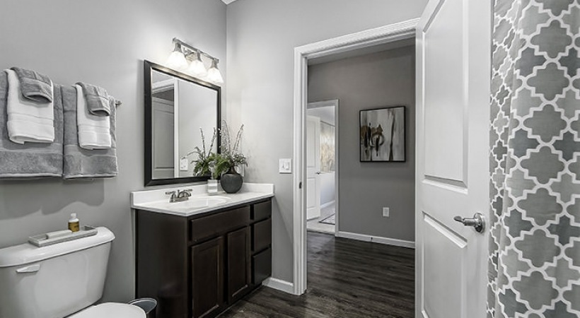 shower/tub combo in well lit bathroom