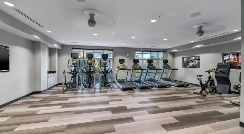 Fitness center at Cortland Oak Lawn in Dallas