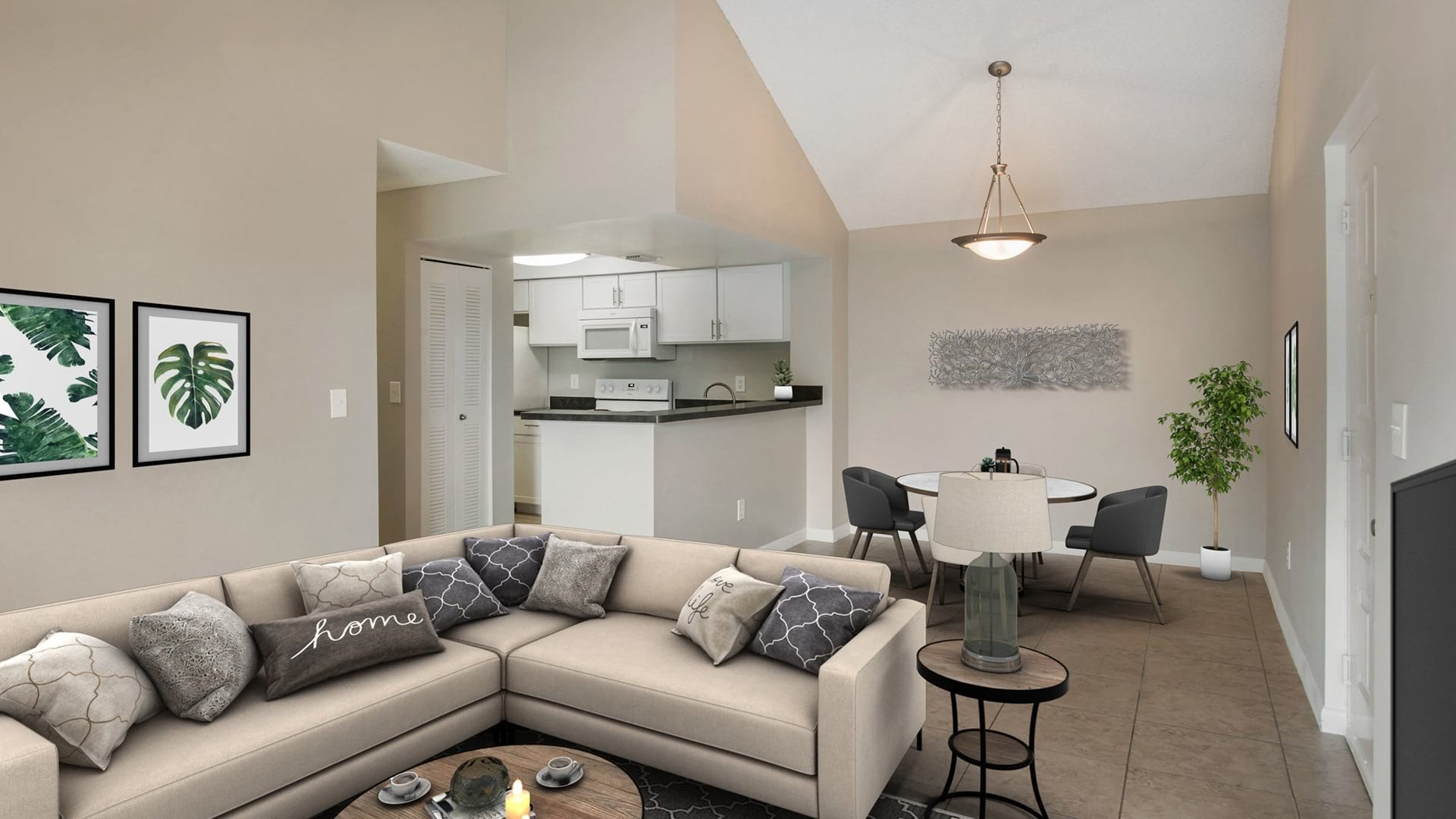 furnished living room and dining areas
