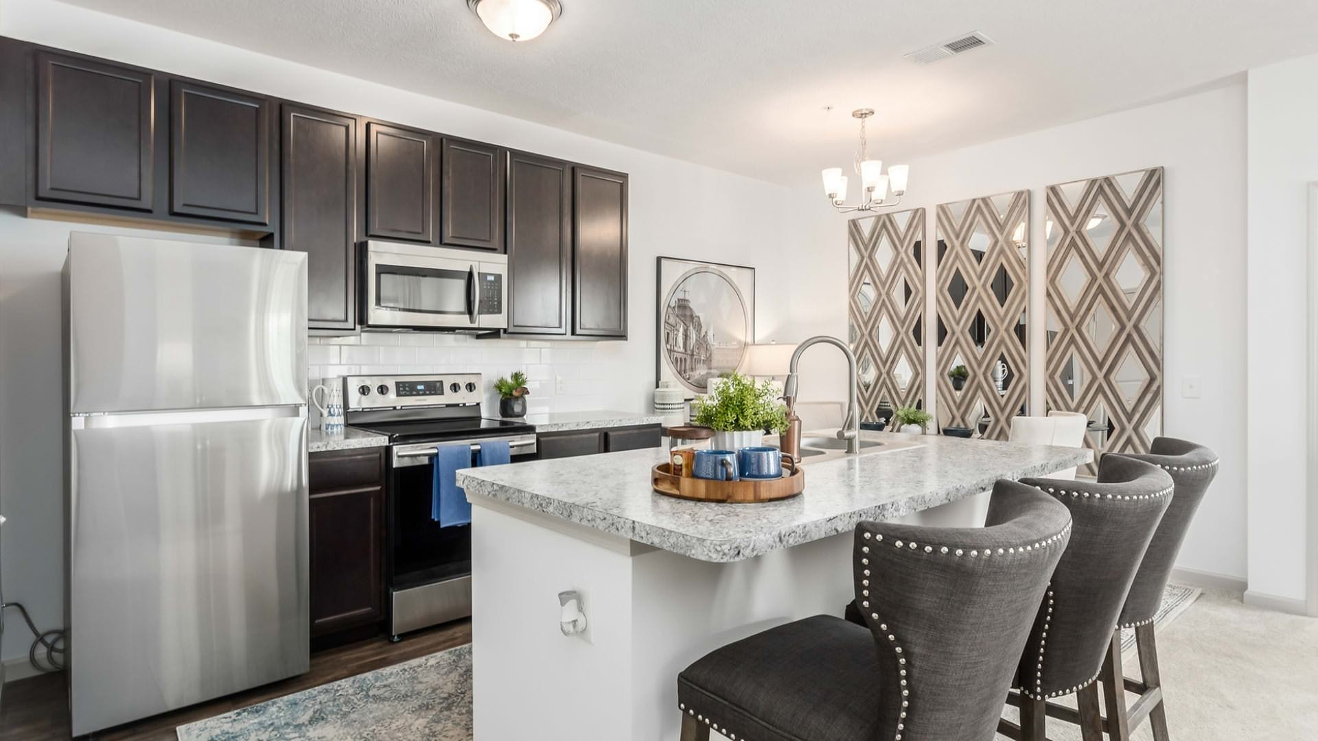 bright, open kitchen with island seating