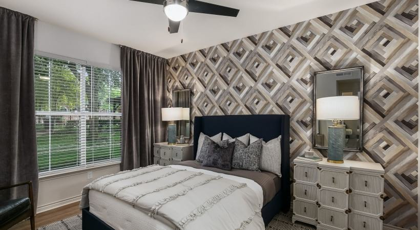 Bedroom with ceiling fan at our luxury apartments in CityLine Richardson