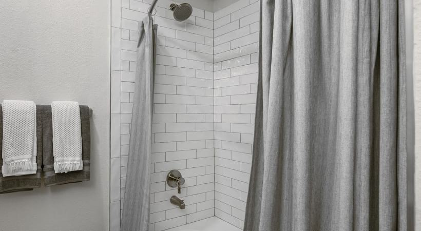 Tile surround shower at our CityLine apartments in Richardson