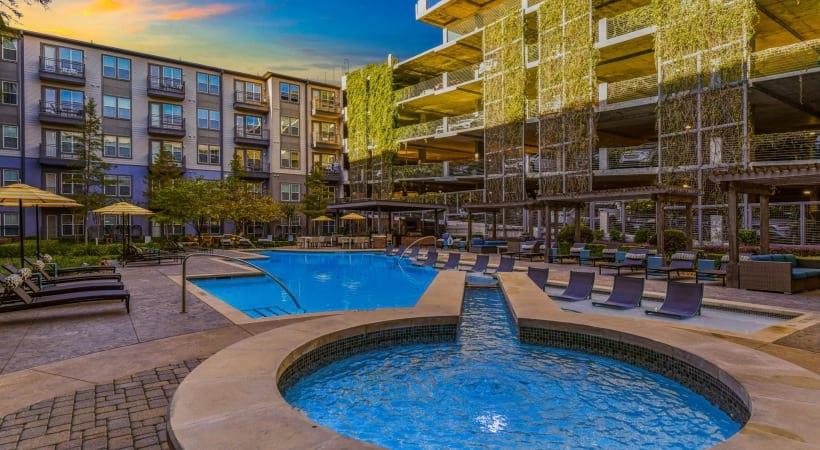 Resort style pool at apartments near Dallas
