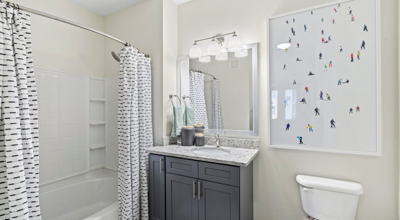 Bathroom with Rainfall Showerheads at Our Interlocken Apartments in Broomfield, CO