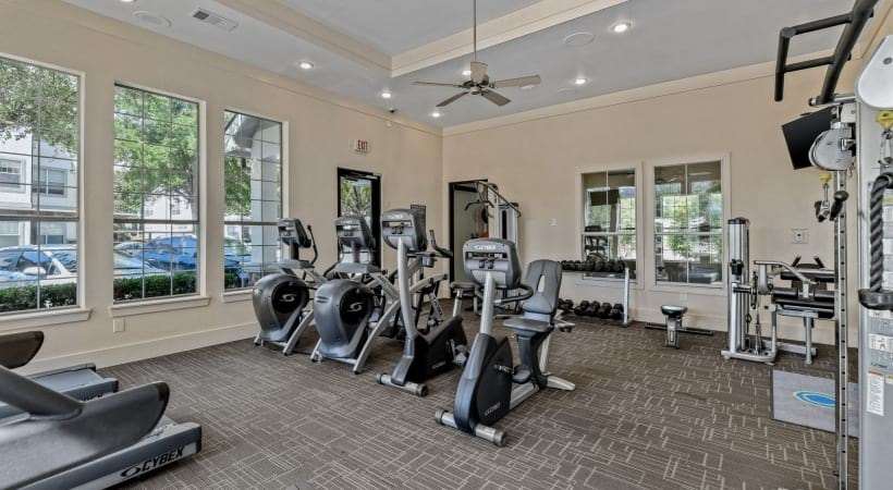 Apartment fitness center at apartments in The Colony, TX