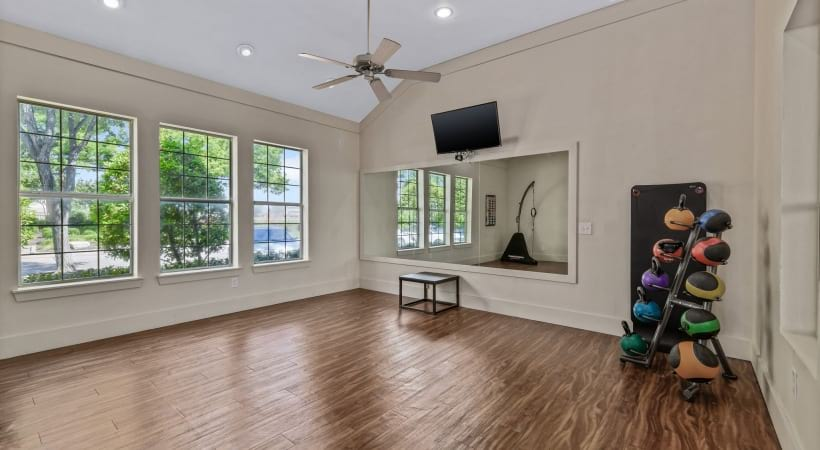 Yoga studio at apartments in The Colony, TX