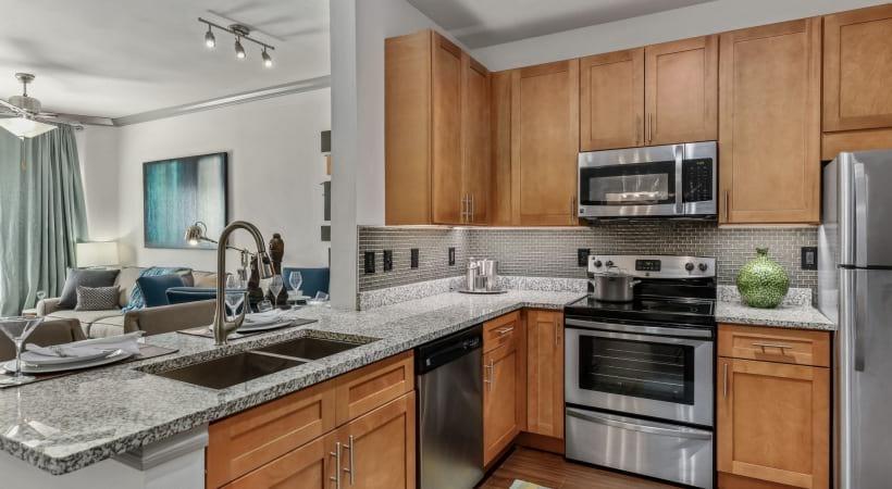 Apartment kitchen with sleek granite countertops