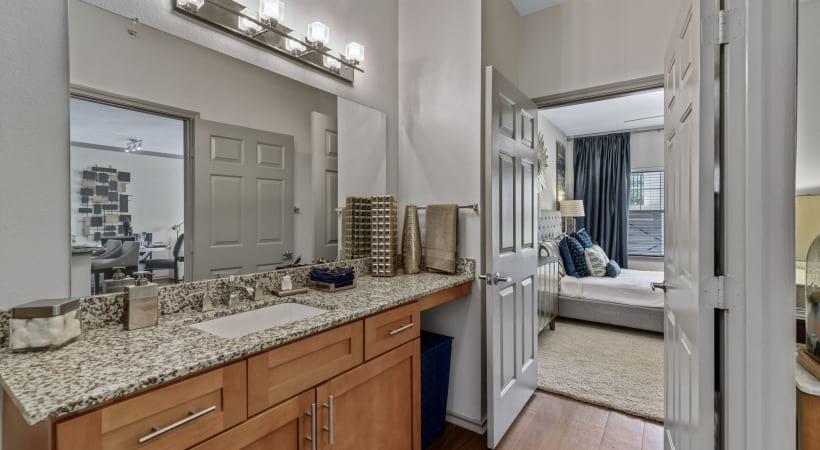 Bathroom sink with sleek granite countertops