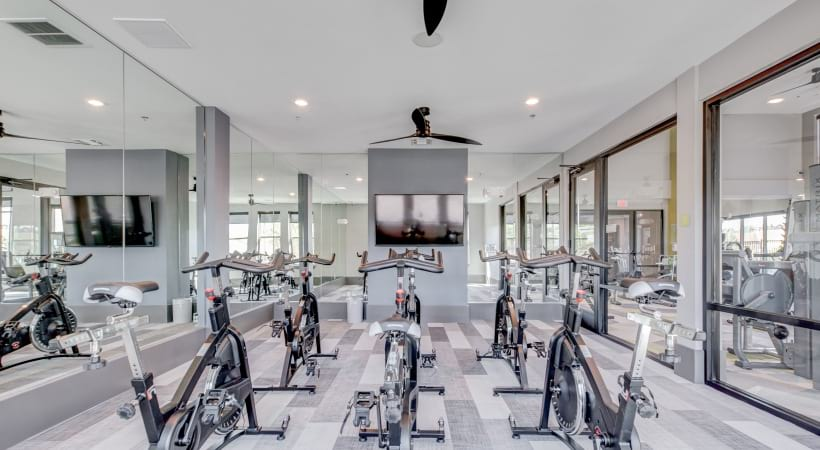 24/7 gym with spin studio at our brand new apartments for rent in Broomfield, CO