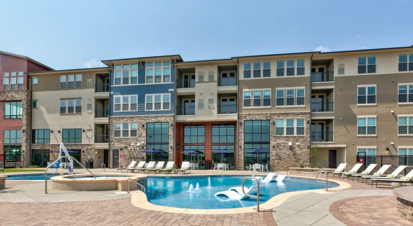 Pool and spa at our brand new apartments near Broomfield, CO