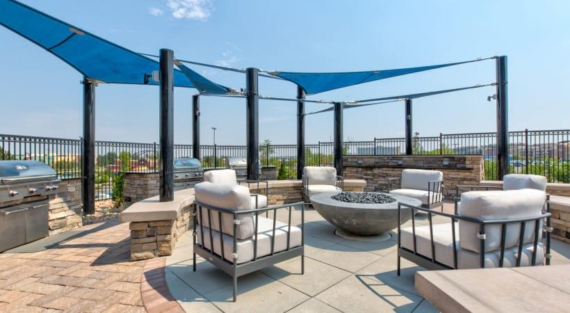 Outdoor lounge at our Interlocken apartments in Colorado