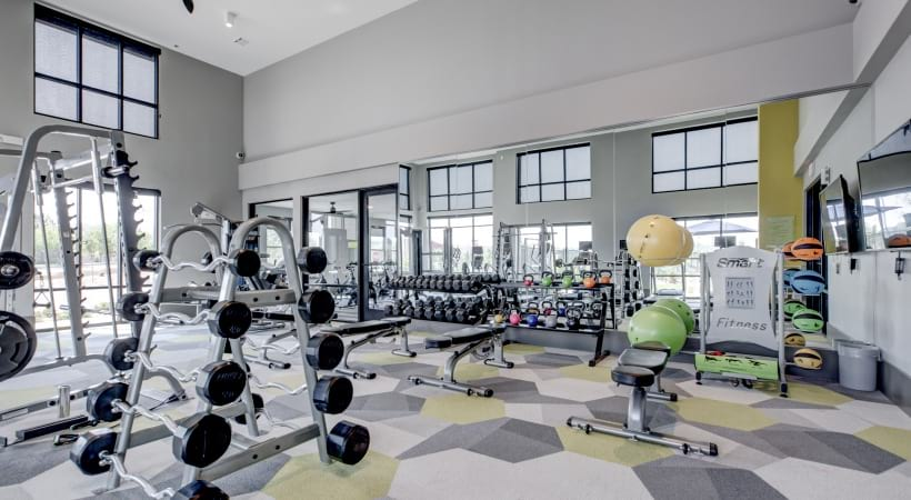 24/7 gym at our luxury apartments in Broomfield, Colorado