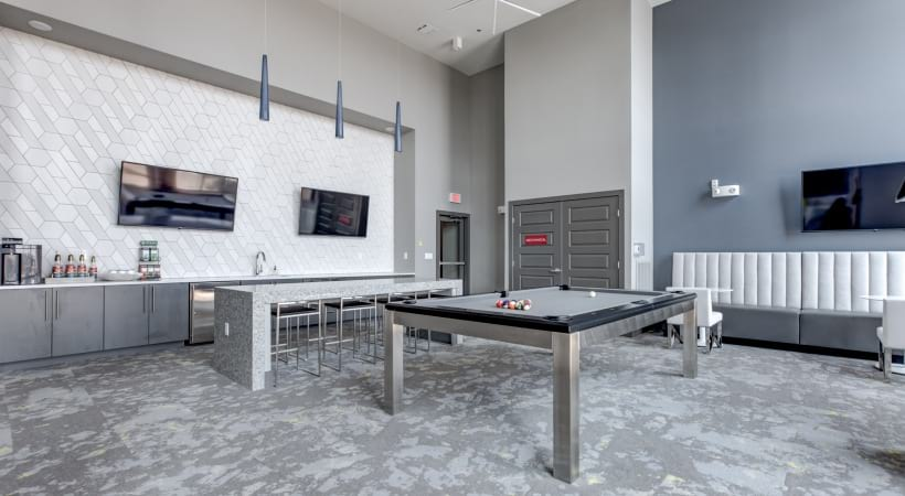 Our Broomfield apartment clubhouse with games and coffee bar