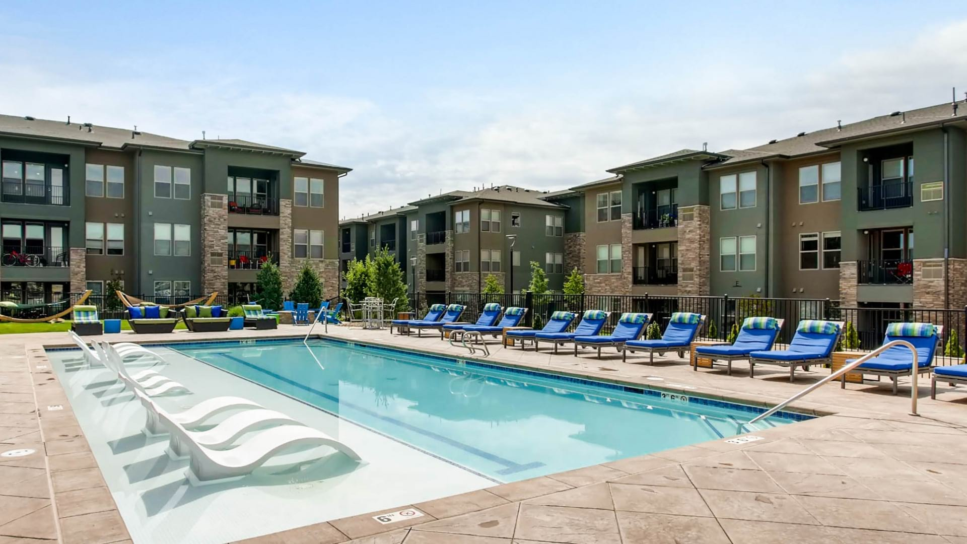 Resort-Style Pool and Sun Deck at our Johnstown Colorado Apartments