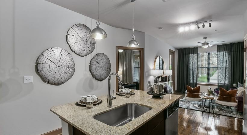 Kitchen islands at Frisco apartments for rent