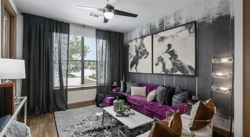 Modern apartment living room at Cortland Legacy