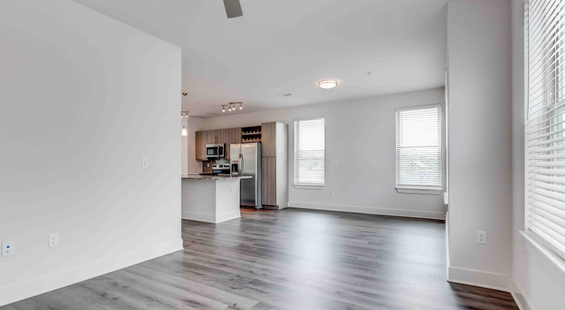 Wood-style flooring at our Flatirons apartments in Colorado
