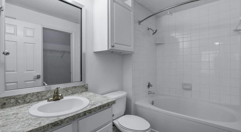 Apartment bathroom at apartments near Plano, TX
