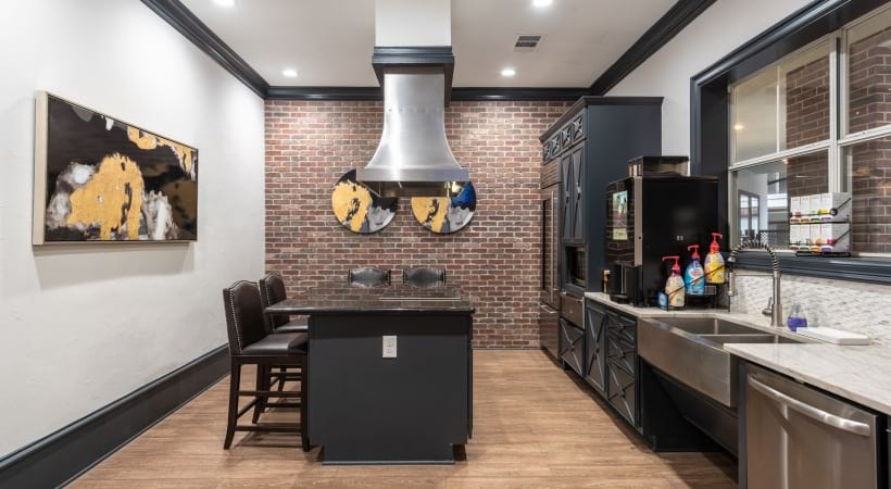 Resident clubhouse kitchen at apartments in Dallas, TX