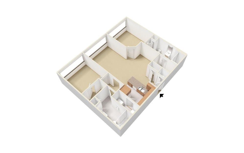 Plan B 2 bedroom 2 bath 1044 square feet (1)