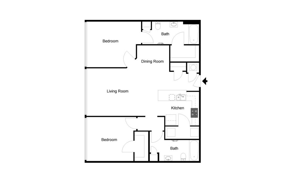 Plan B 2 bedroom 2 bath 1044 square feet (2)