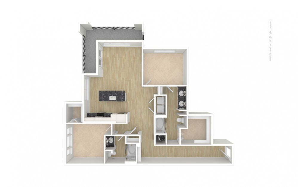 Sycamore 2 bedroom 2 bath 1360 square feet (1)