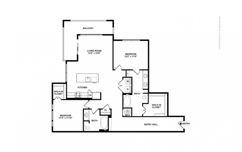 Sycamore 2 bedroom 2 bath 1360 square feet (2)