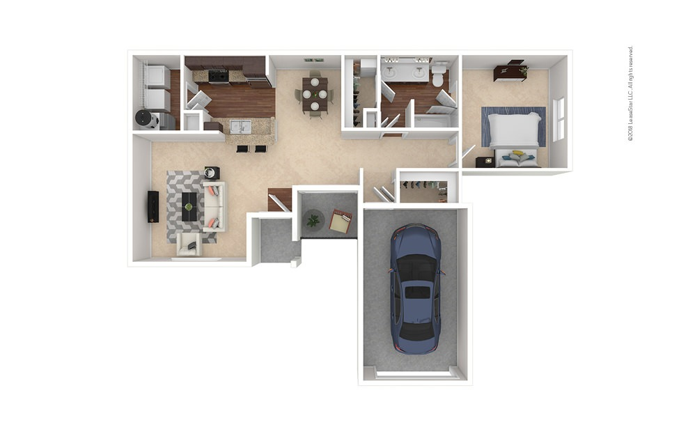 A4 1 bedroom 1 bath 954 square feet