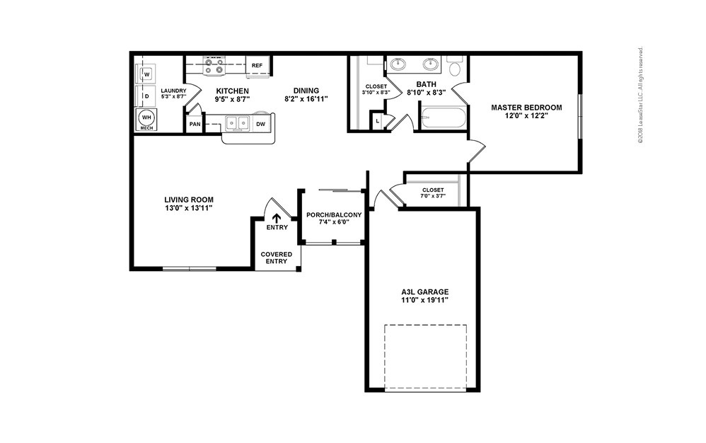 A4 1 bedroom 1 bath 954 square feet (2)