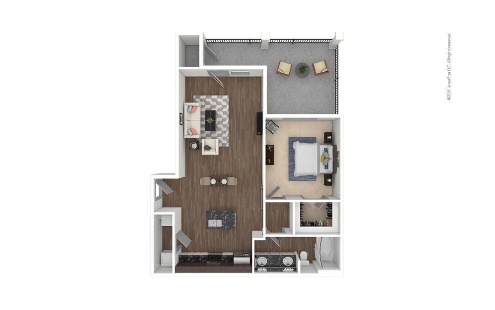 A4 1 bedroom 1 bath 802 square feet