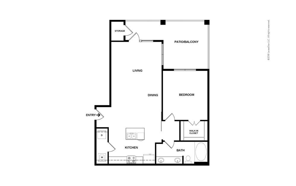 A4 1 bedroom 1 bath 802 square feet (2)